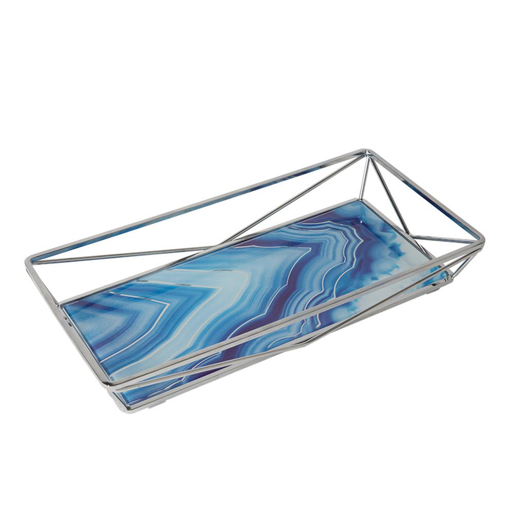 Cobalt Agate Design Geometric Vanity Tray in Chrome