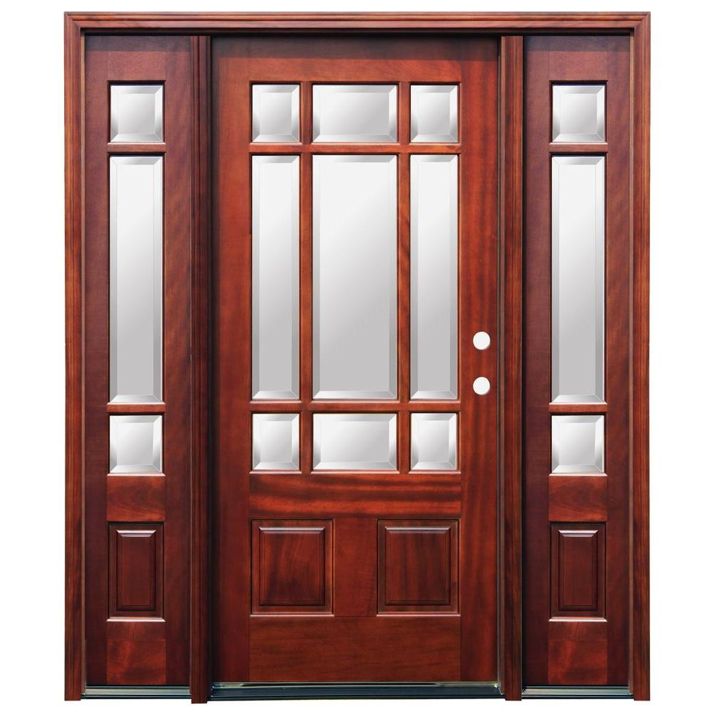 Pacific Entries 66 in. x 82 in. Craftsman 9 Lite Stained Mahogany Wood Prehung Front Door with 6 in. Wall Series and 12 in. Sidelites