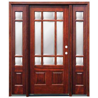 Craftsman 9 Lite Stained Mahogany Wood Prehung Front Door with 6 in. Wall Series and 12 in. Sidelites