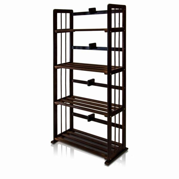 Furinno Pine Espresso Color Solid Wood 4-Shelf Open Bookcase FNCL-33002-C1