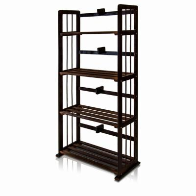 Pine Espresso Color Solid Wood 4-Shelf Open Bookcase