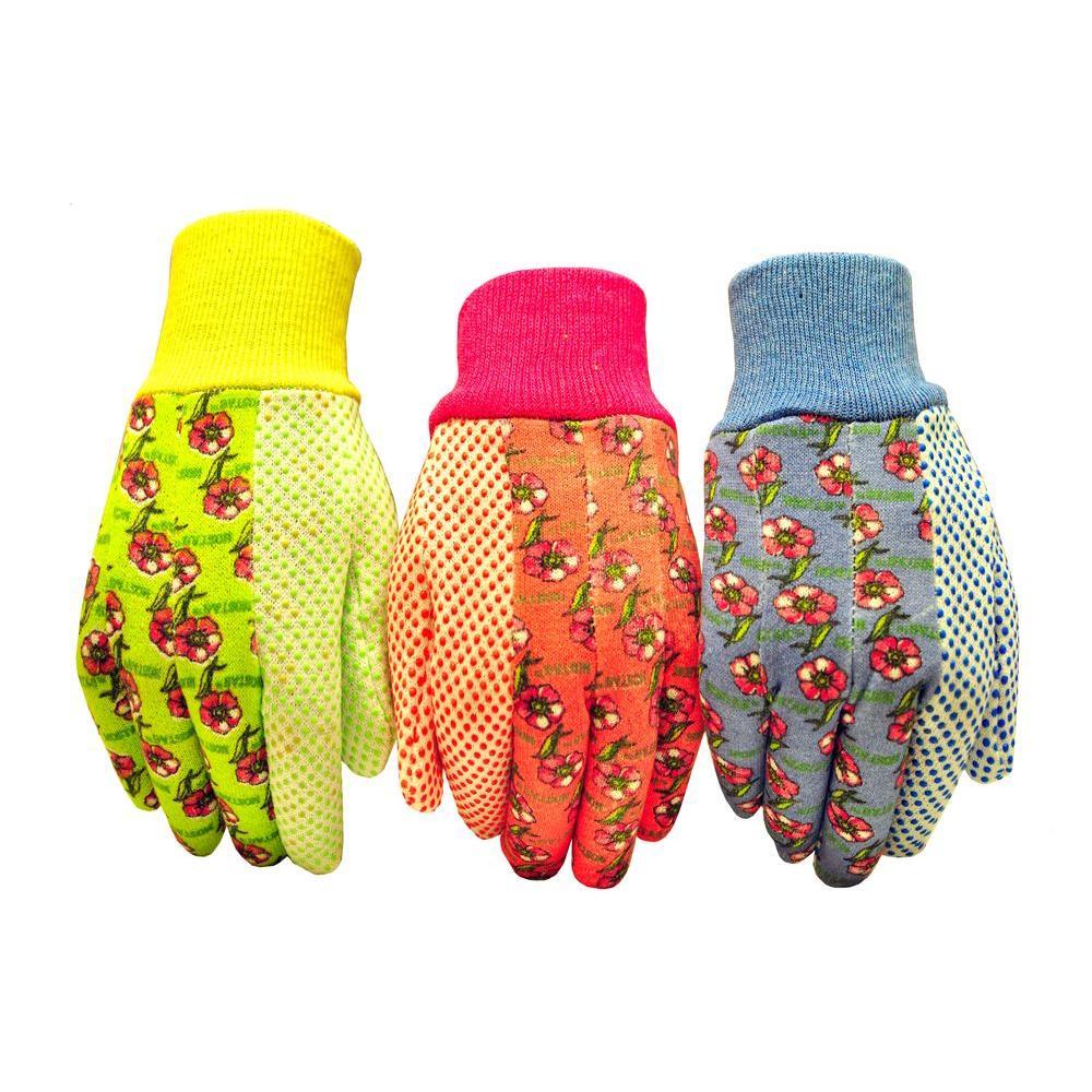 Medium Green/Red/Blue Women Soft Jersey Garden Gloves (3-Pair)