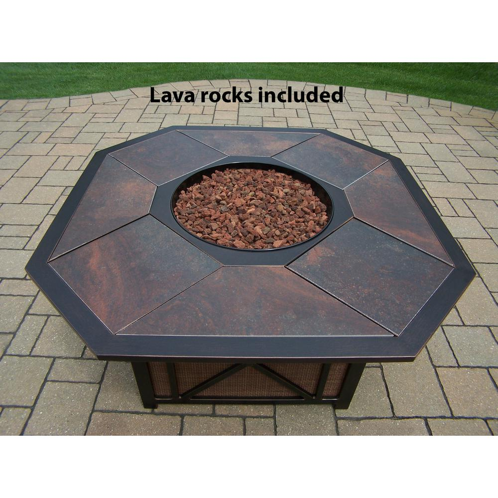 43 in. x 24 in. Octagon Gas Firepit Table with Porcelain