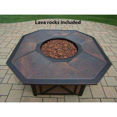 43 in. x 24 in. Octagon Gas Firepit Table with Porcelain Inlaid Top, Burner System, Red Lava Rocks and Aluminum