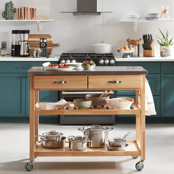 Kitchen Cart With Stainless Top 5217