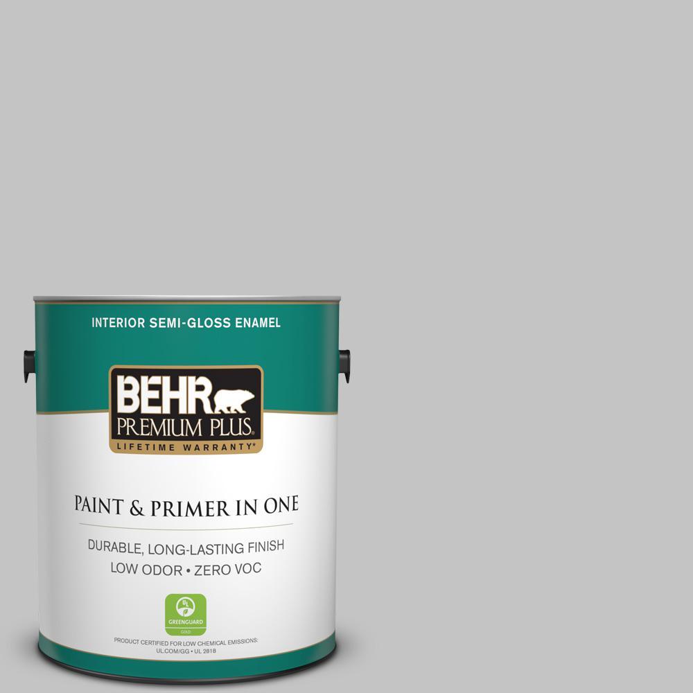 1-gal. #N520-2 Silver Bullet Semi-Gloss Enamel Interior Paint