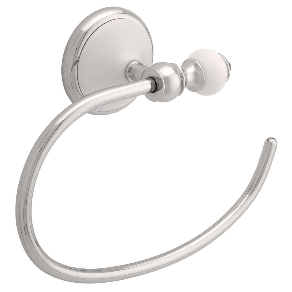 Delta Alexandria Towel Ring in Chrome and White