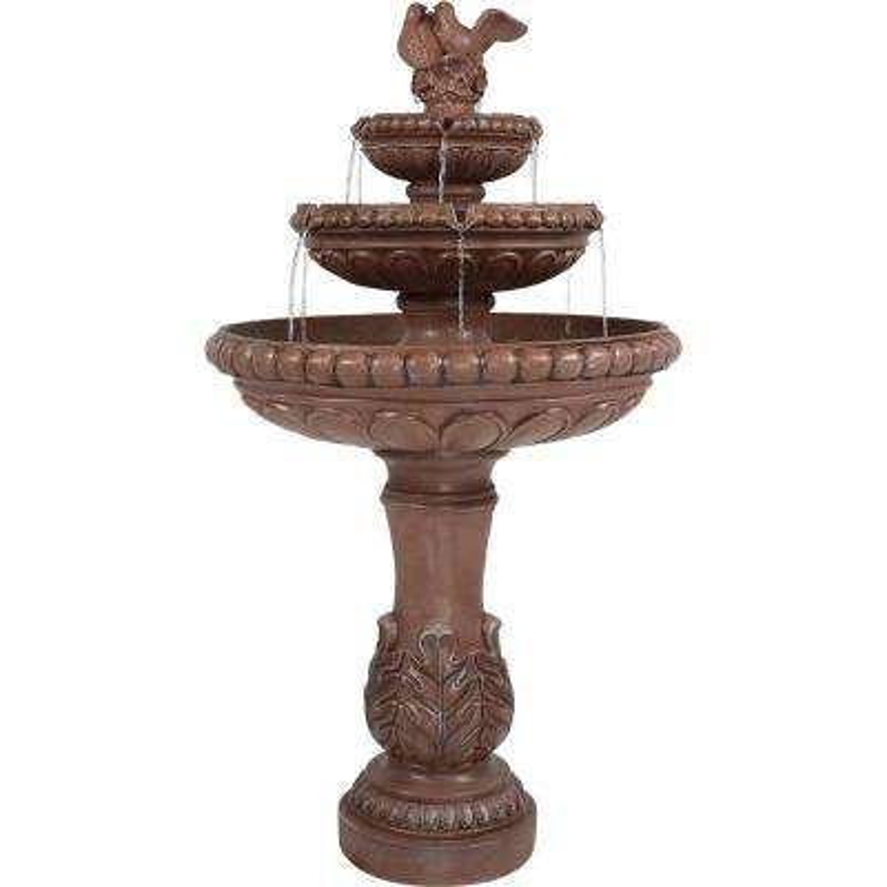 43 in. 3-Tier Dove Pair Outdoor Water Fountain