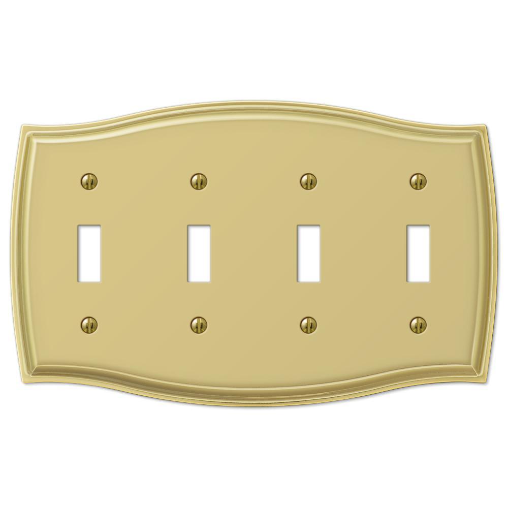 Vineyard 4 Gang Toggle Steel Wall Plate - Polished Brass