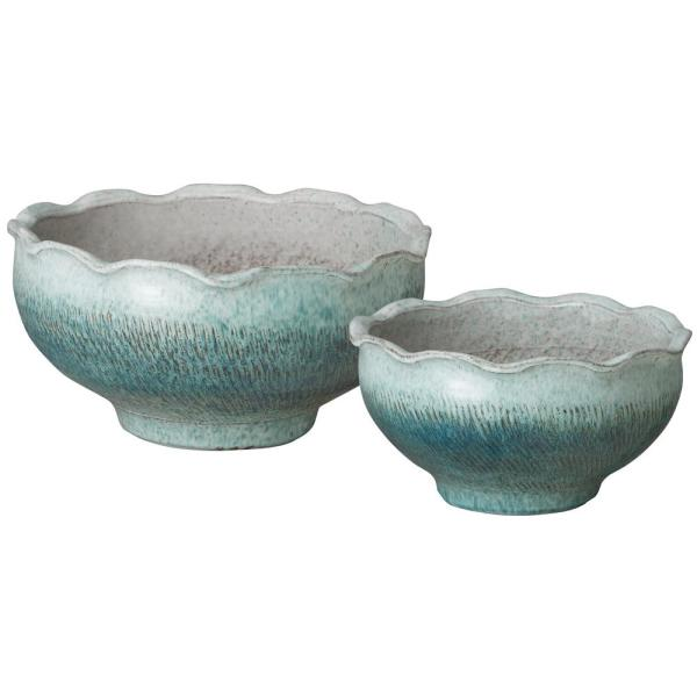 Scallop Blue Lotus Coastal Splash Ceramic Bowls (Set of 2)