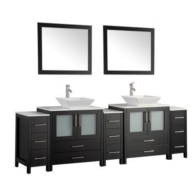 96 in. W x 18.5 in. D x 36 in. H Bathroom Vanity in Espresso with Double Basin Vanity Top in White Ceramic and Mirrors
