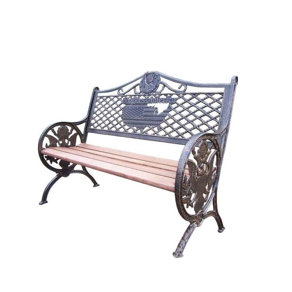 Oakland Living God Bless America Patio Bench-6074-AB - The ... on Ab And Outdoor Living id=87714