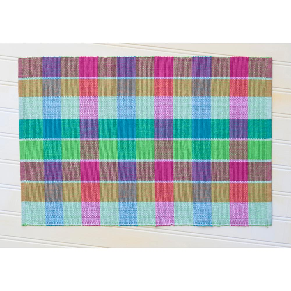 Colorful Parakeet Plaid Seersucker Placemats (Set of 4)