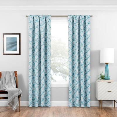 Benchley Blackout Window Curtain Panel in Teal - 37 in. W x 63 in. L