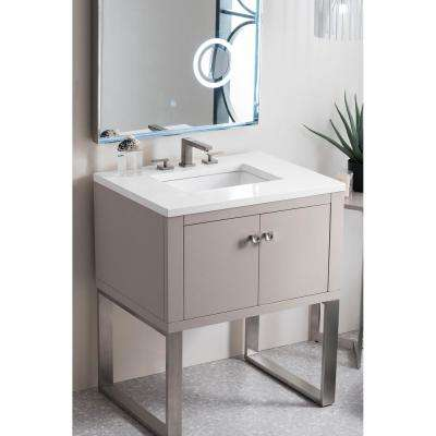 Westlake 30 in. Single Bath Vanity in Mountain Mist with Quartz Vanity Top in Classic White with White Basin
