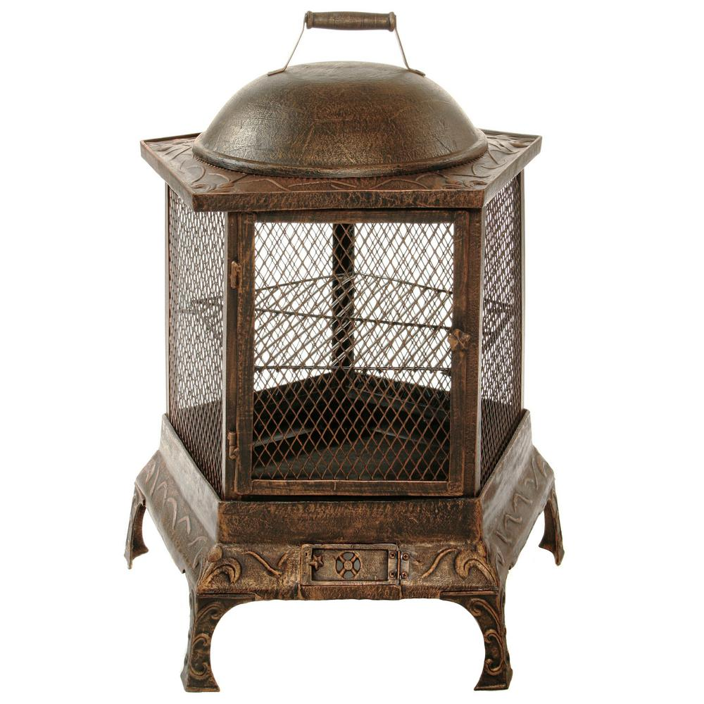 Pentagon 34 In Fire Pit Chimenea Hd8026 Ab The Home Depot