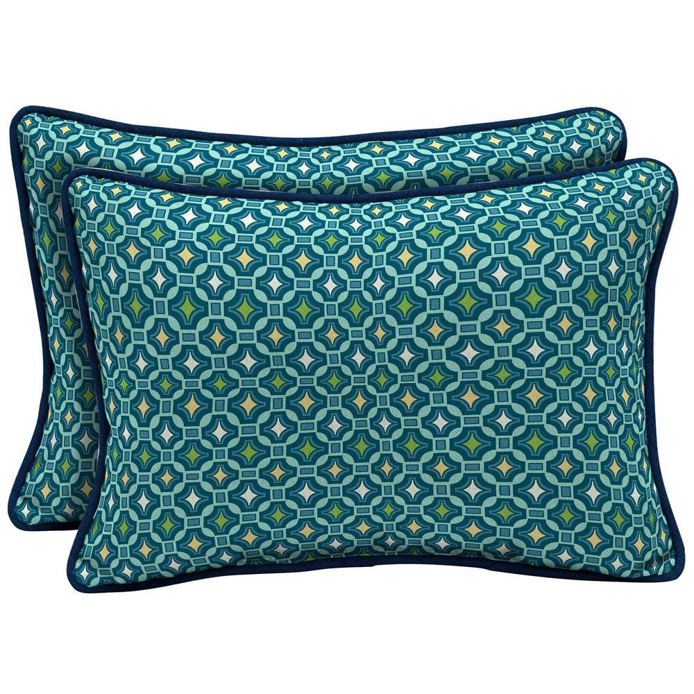 Arden Selections 22 x 15 Alana Tile Reversible Oversized Lumbar Outdoor Throw Pillow (2-Pack)