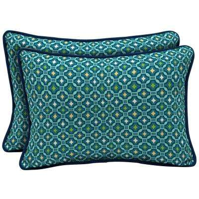 22 x 15 Alana Tile Reversible Oversized Lumbar Outdoor Throw Pillow (2-Pack)