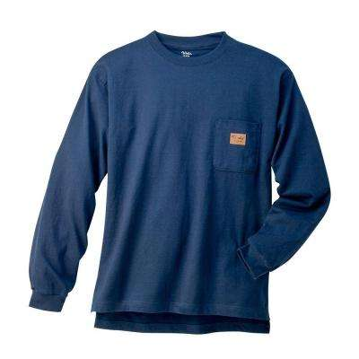 Long Sleeve Heavyweight Crew Extra Large Regular Tee in Navy