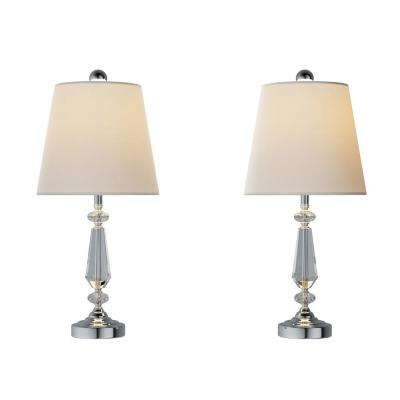 24 in. Modern Crystal Candlestick Lamp (Set of 2)