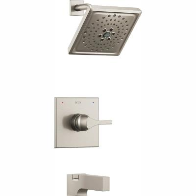 Zura 1-Handle Tub and Shower Faucet Trim Kit with H2Okinetic Spray in Stainless (Valve Not Included)