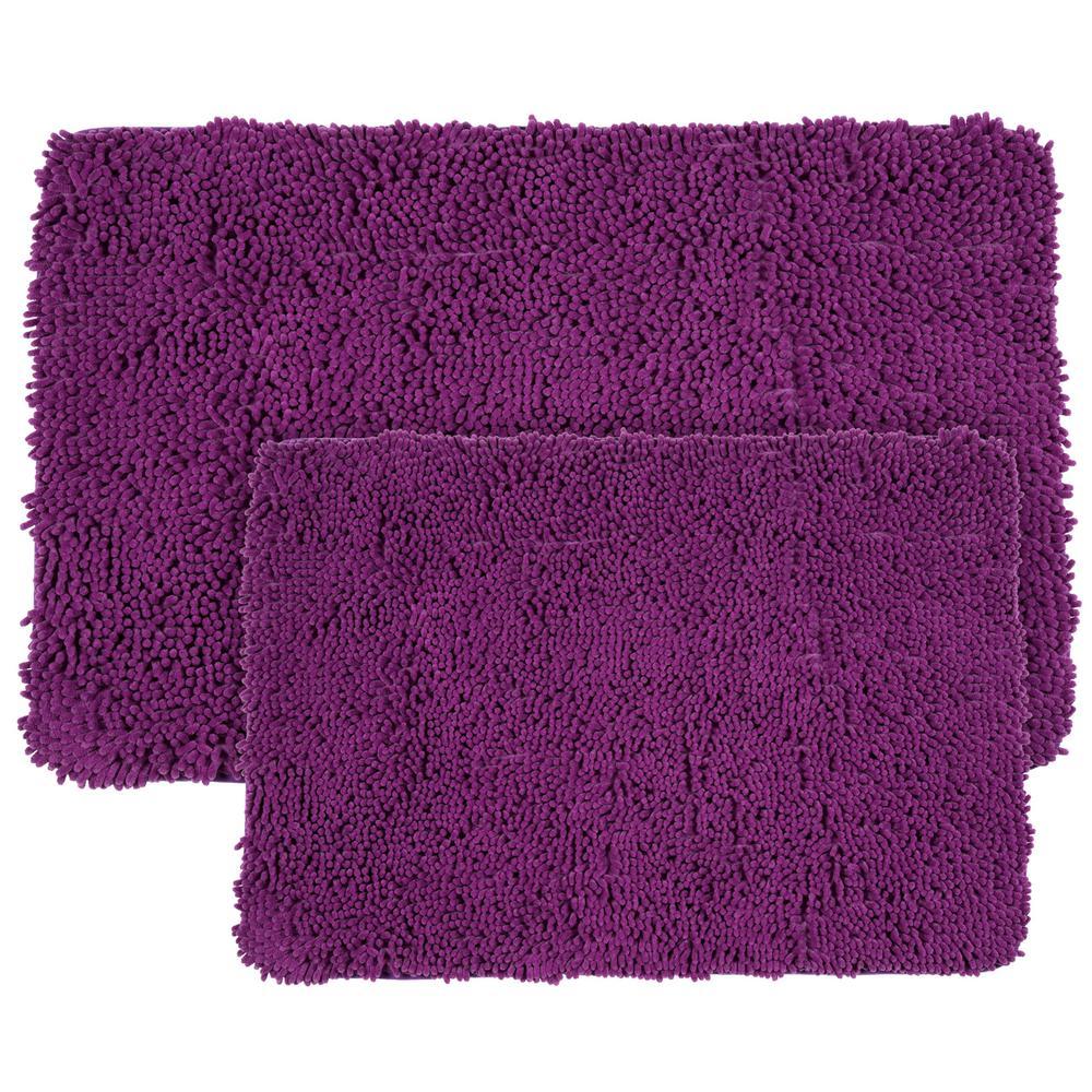 Lavish Home 2 Piece Memory Foam Shag Bath Mat Set In