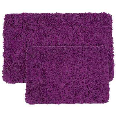 2-Piece Memory Foam Shag Bath Mat Set in Purple