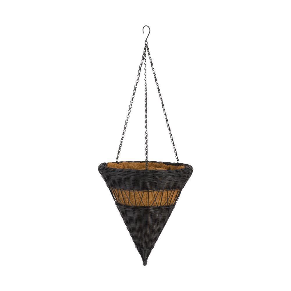 DMC 14 in. Antique Brown Cone Resin Wicker Hanging Basket
