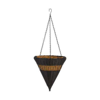 14 in. Antique Brown Cone Resin Wicker Hanging Basket