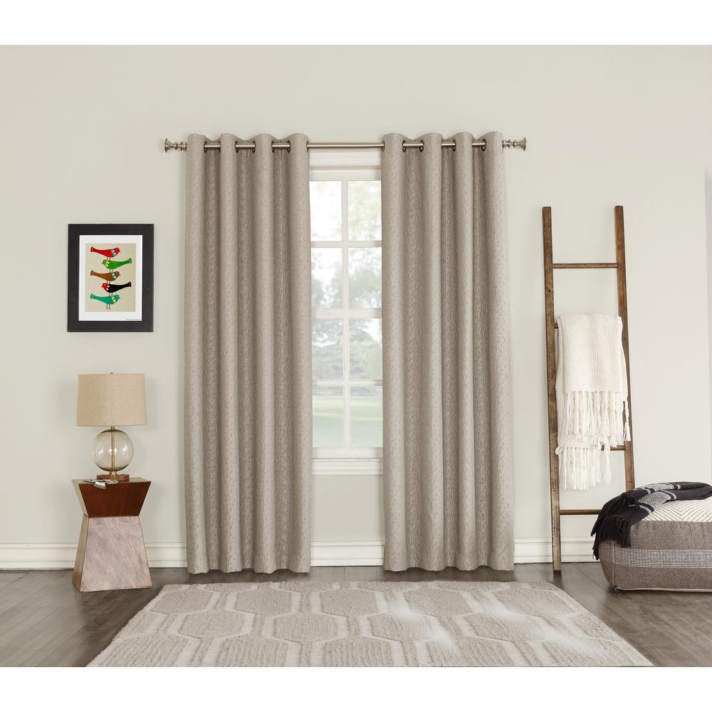 Talin Oatmeal Lined Blackout Grommet Curtain - 52 in. W x 95 in. L
