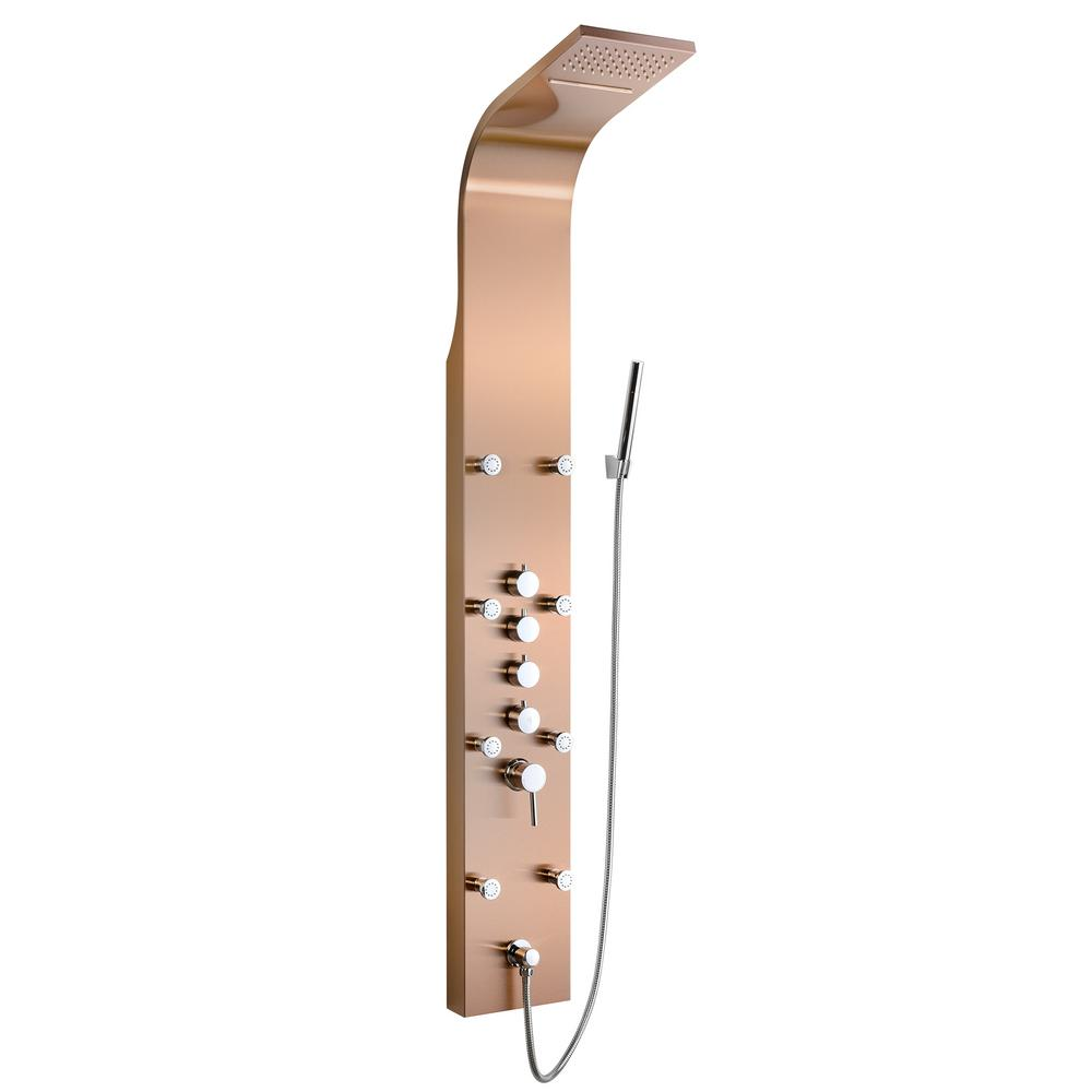 8 Jet Shower Panel System In Bronze Stainless Steel With Rainfall