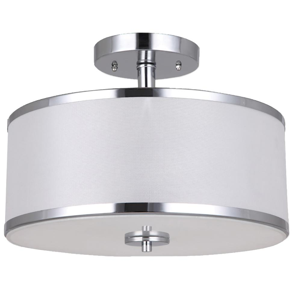 Portland collection 2 light chrome semi flush mount light