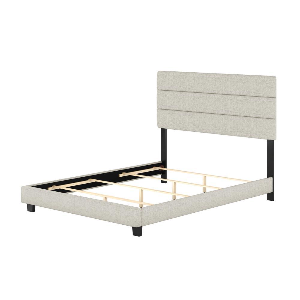 Vivian White Linen Queen Upholstered Platform Bed Frame