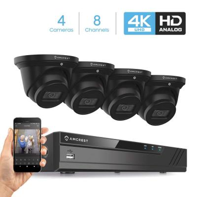 4K (8 MP) 8-Channel DVR Security Camera System with 4x 4K 8 MP Dome Indoor Outdoor Wired Cameras, Weatherproof IP67