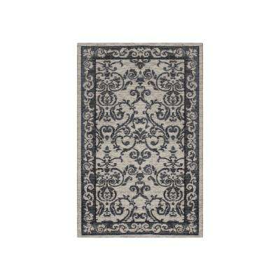 Halstead Border Gray Jacquard Chenille 4 ft. x 2 ft. Textured Area Rug