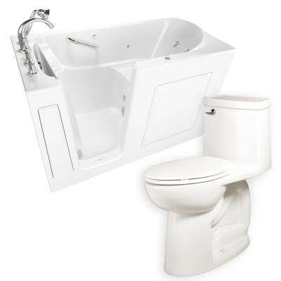 Whirlpool Left-Hand 30 in. x 60 in. Walk-In Bath, Roman Tub Filler, and Cadet 3 FloWise Tall Height Toilet in White