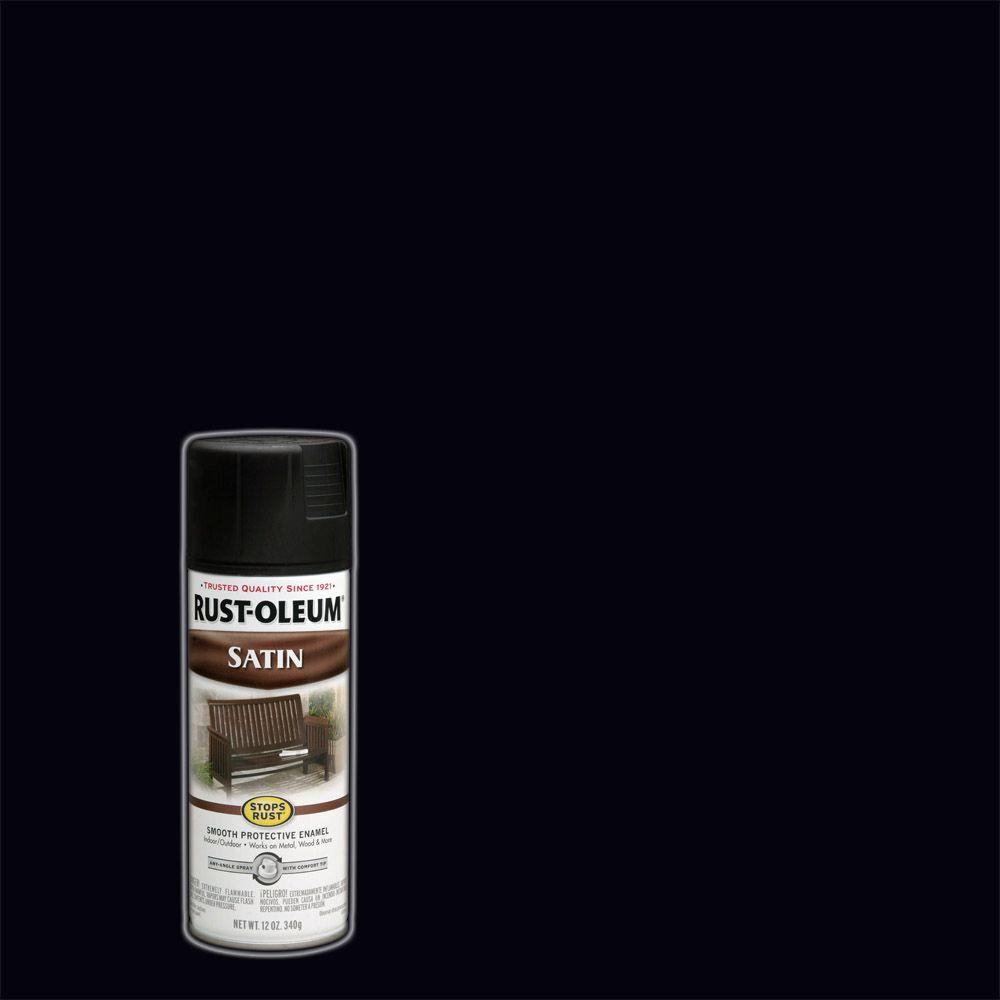 Rust-Oleum Stops Rust 12 oz. Protective Enamel Satin Black Spray Paint