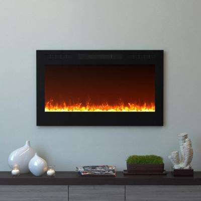 Cynergy 36 in. Crystal Electric Recessed Built-In Fireplace in Black