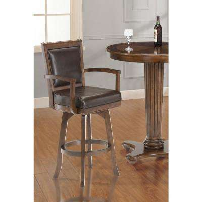 Ambassador 30 in. Medium Brown Cherry Swivel Cushioned Bar Stool