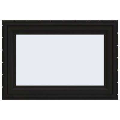 36 in. x 24 in. V-4500 Series Black FiniShield Vinyl Awning Window with Fiberglass Mesh Screen