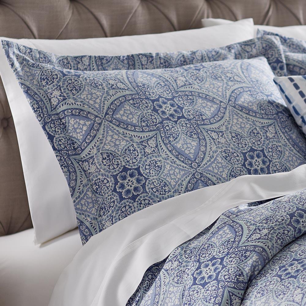 home decorators collection alfresco blue cotton euro pillow sham