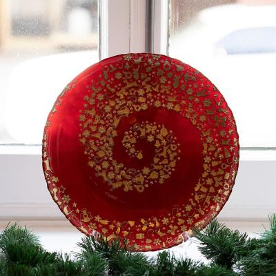 Joy Collection Glass Red and Gold Christmas Plate