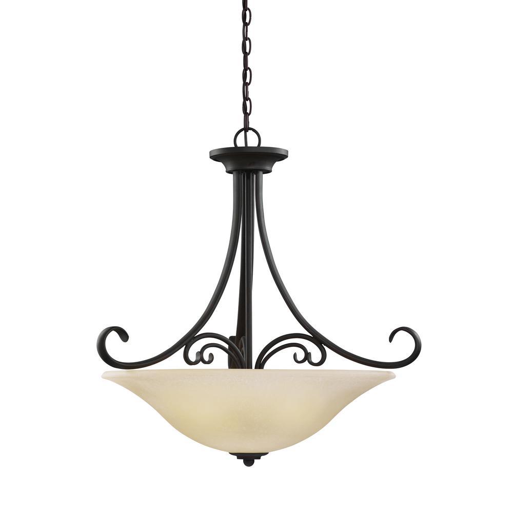 Sea Gull Lighting Del Prato 4-Light Chestnut Bronze Pendant with LED Bulbs by Sea Gull Lighting