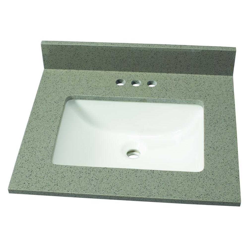 25 in. W Quartz Single Basin Vanity Top in London Fog