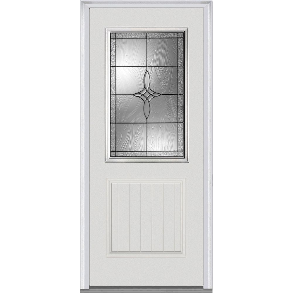 Mmi Door 37 5 In X In Lenora Decorative Glass 1 2 Lite 1 Panel Planked Primed Fiberglass