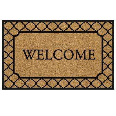 Welcome Tile Border 18 in. x 30 in. Coir Custom Door Mat