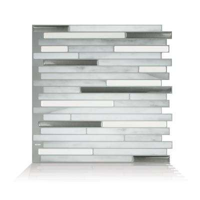 Capri Carrera 9.88 in. W x 9.70 in. H Gray Peel and Stick Self-Adhesive Decorative Mosaic Wall Tile Backsplash (4-Pack)
