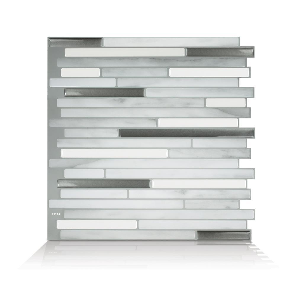 Capri Carrera 9.88 in. W x 9.70 in. H Gray Peel and Stick Self-Adhesive Decorative Mosaic Wall Tile Backsplash (4-Pack)