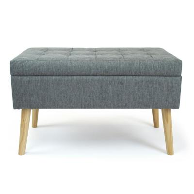 Gray Rectangular Storage Fabric Ottoman Bench Tufted Footrest Lift Top