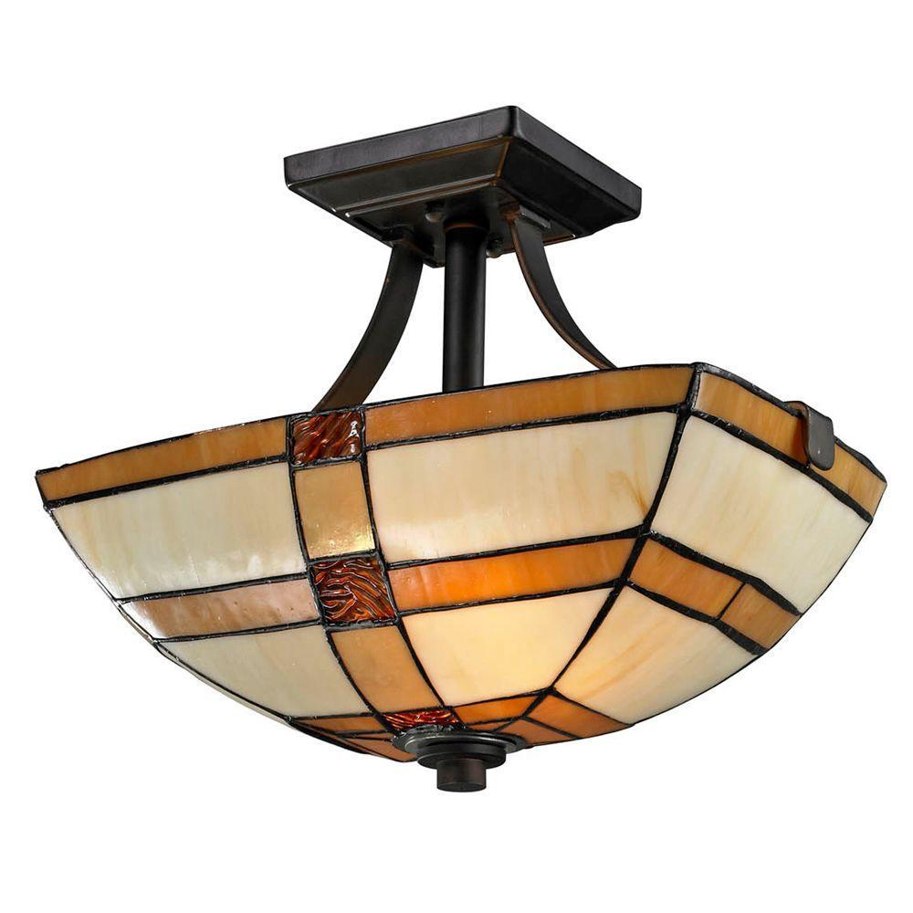 Brisdol 2-Light Dark Bronze Semi-Flush Mount Light